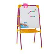 Мольберт двухсторонний с большим пеналом, магнитными буквами, цифрами и мозаикой, цвет сиреневый, 52х51х104см