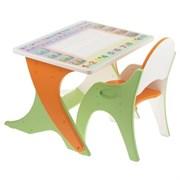 """Набор мебели """"Буквы-цифры"""": стол-парта, стул. Цвет эвкалипт-оранжевый"""