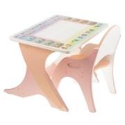 """Набор мебели """"Буквы-цифры"""": стол-парта, стул. Цвет розовый-персиковый"""