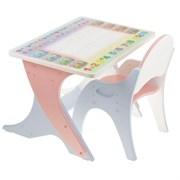 """Набор мебели """"Буквы-цифры"""": стол-парта, стул. Цвет розовый-голубой"""