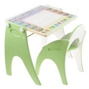 """Набор мебели """"Буквы-цифры"""" парта-мольберт, стульчик. Цвет салатовый"""