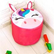 Мягкая игрушка «Пуфик Единорог» 40см х 40см, цвет розовый