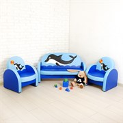"""Комплект мягкой мебели """"Агата"""", сине-голубой, с дельфином"""