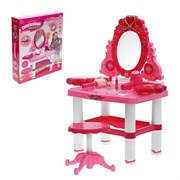 """Игровой набор """"Модница"""": столик с зеркалом, стульчик, волшебная палочка, фен, аксессуары, со светом и звуком, высота 72 см, работает от батареек"""