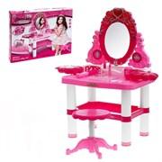 """Игровой набор """"Очаровашка"""": столик с зеркалом, стульчик, фен, аксессуары, со светом и звуком, высота 72 см, работает от батареек"""