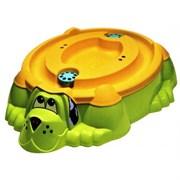"""Песочница-бассейн """"Собачка с крышкой"""" 432 зелёный с оранжевой крышкой"""