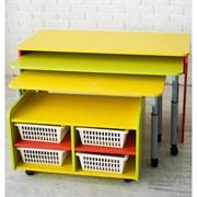 """Многофункциональный детский стол для развивающей деятельности с набором корзин """"Поместим все"""""""