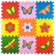 "Коврик-пазл Экополимеры (9 плит 33x33x0,9см, ~1кв.м./уп) ""Бабочки"""
