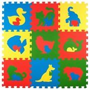 """Коврик-пазл Экополимеры (9 плит 33x33x0,9см, ~1кв.м./уп) """"Животные"""""""