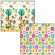 """Детский двухсторонний коврик для ползания """"Жирафы/Рай для животных"""" складной, 200х180х1 см"""